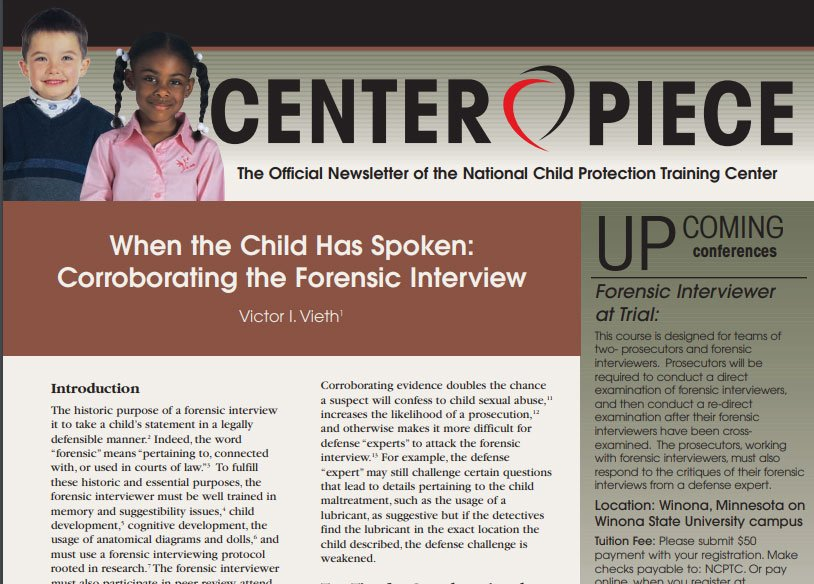 Volume 2, Issue 5: When the Child Has Spoken: Corroborating the Forensic Interview
